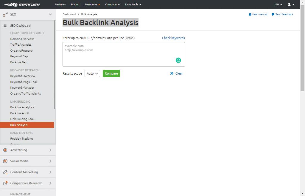 Bulk Backlink Analysis