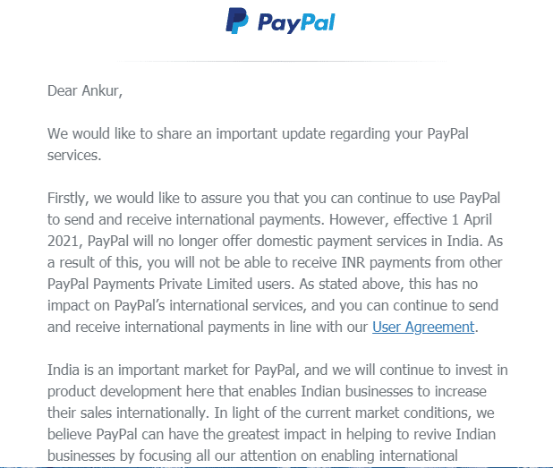 Paypal India Suspended Trnsaction