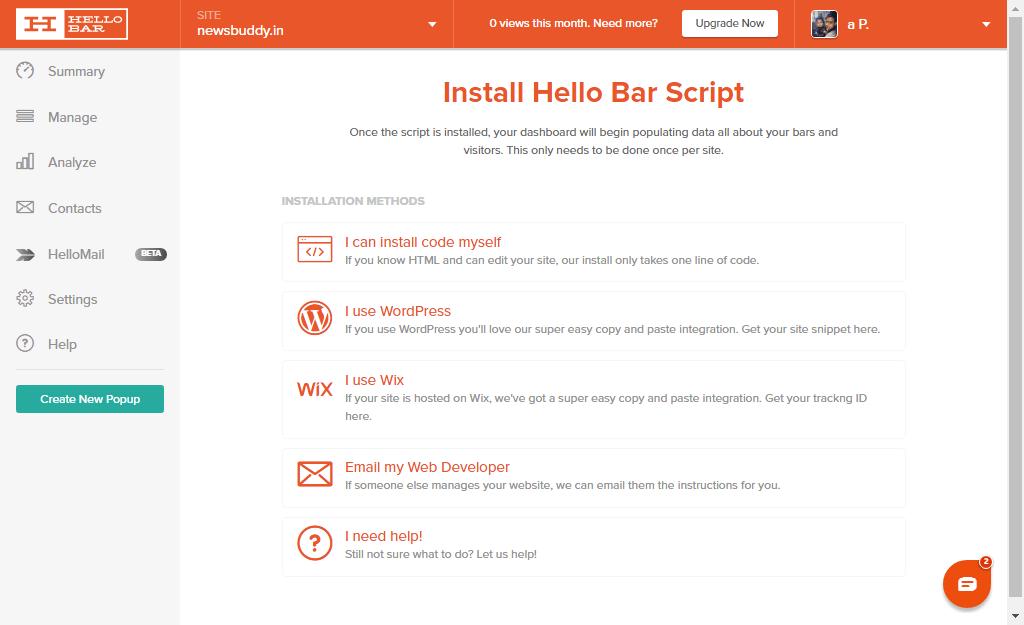HelloBar Integration