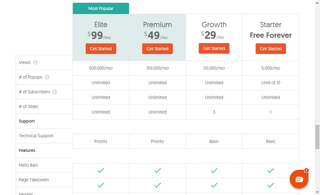 hellobar pricing