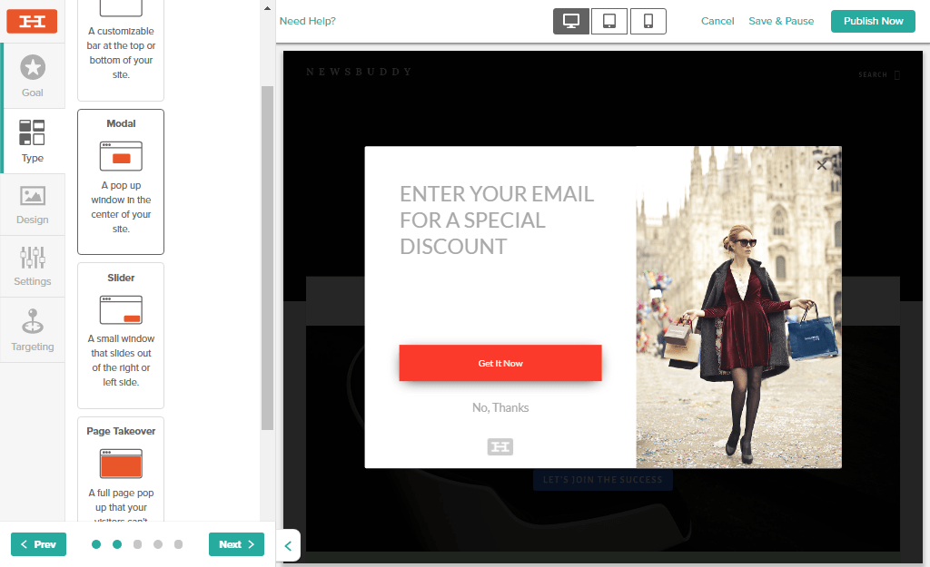 popup in the center of website