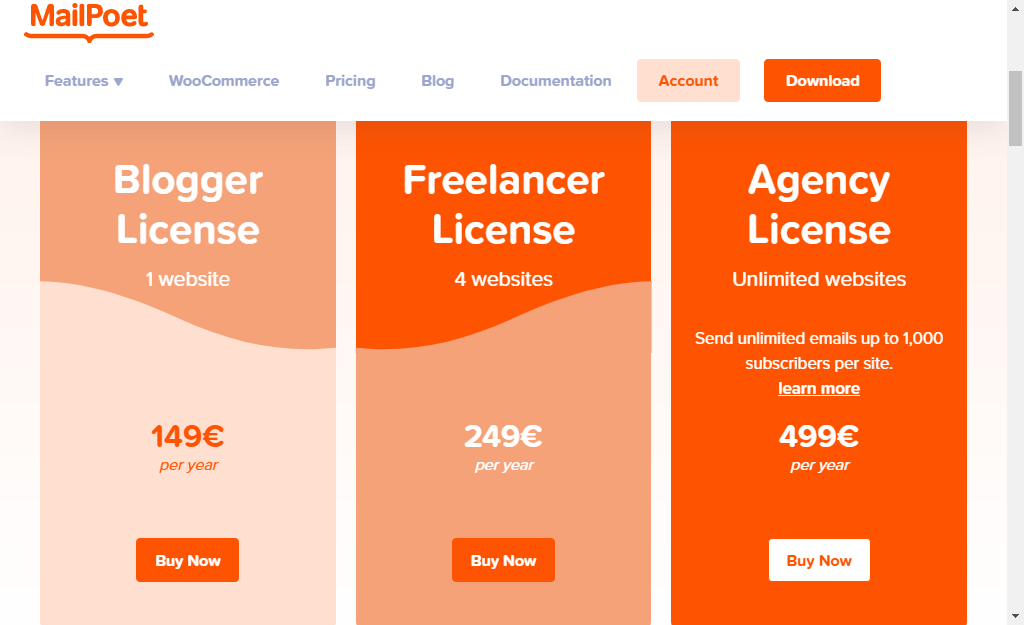 MailPoet Premium Licenses without sending review