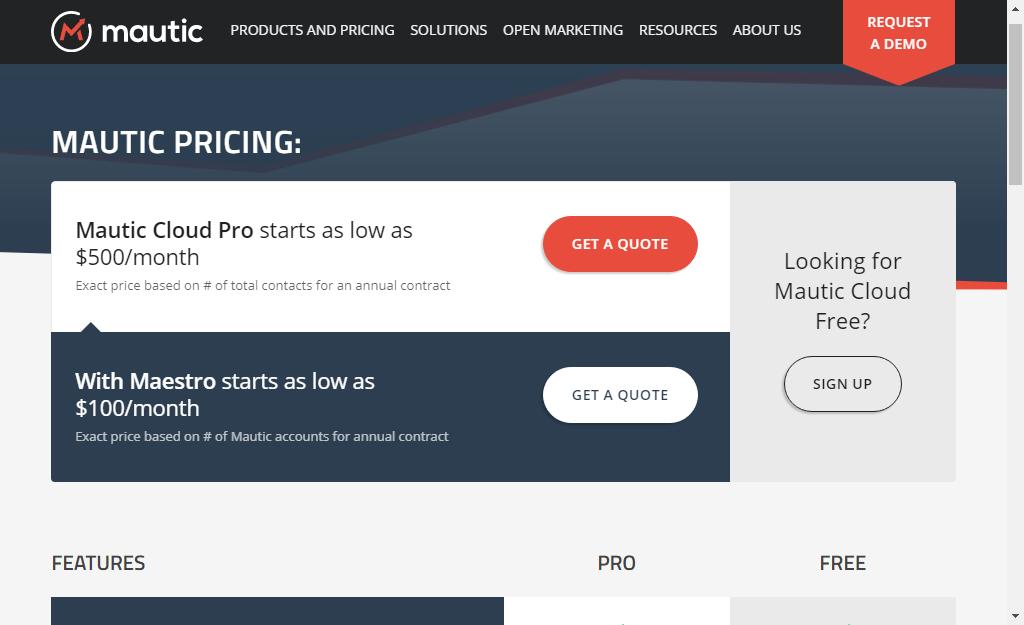 mautic pricing