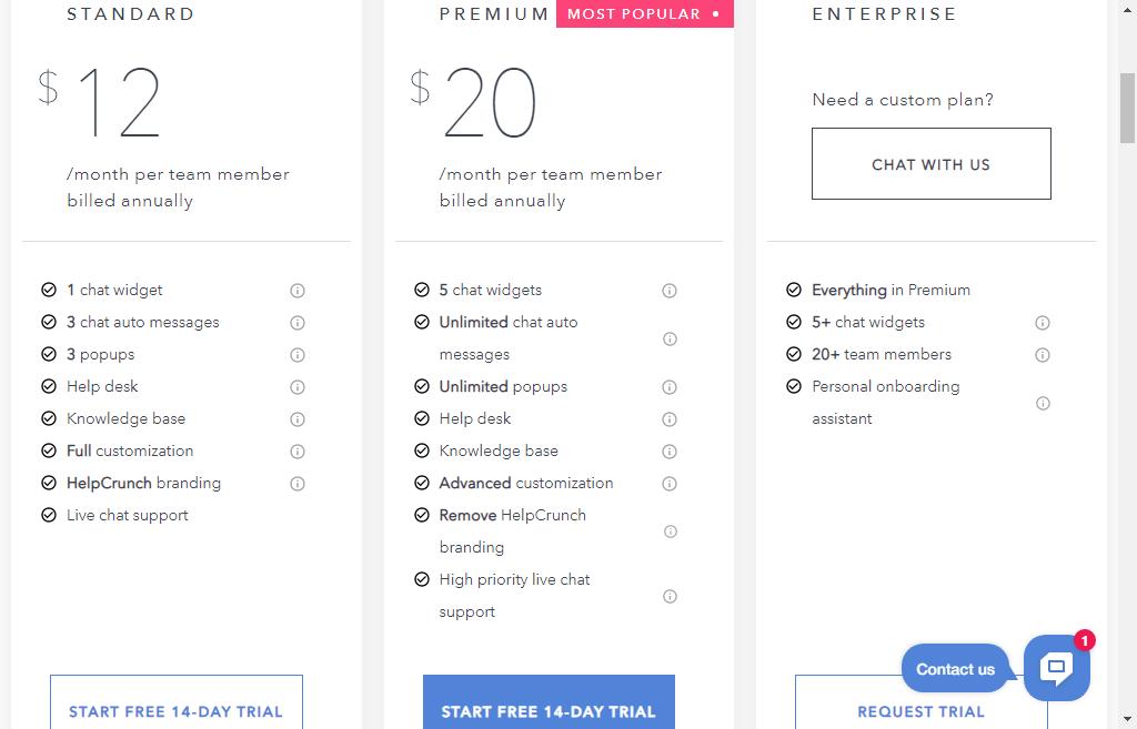 helpcrunch live chat plan
