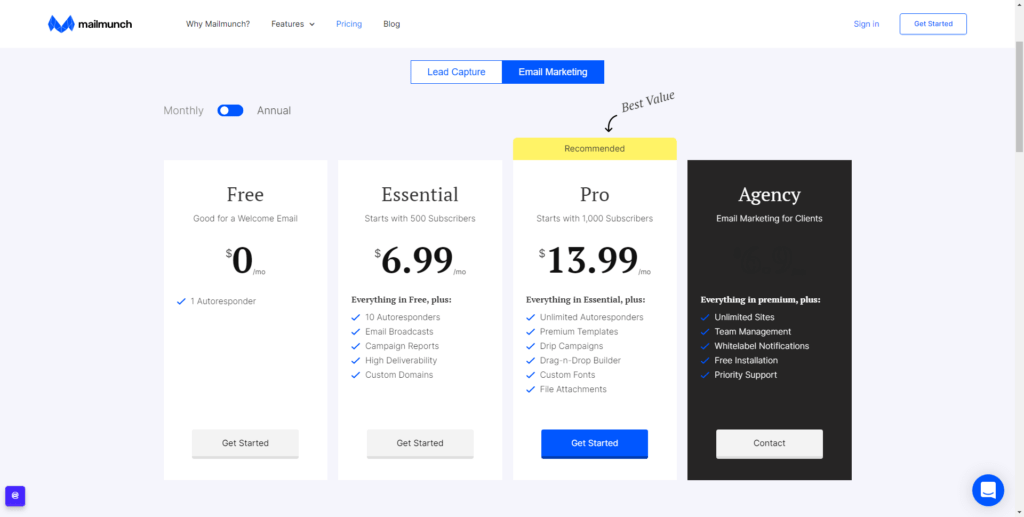 email marketing Mailmunch pricing